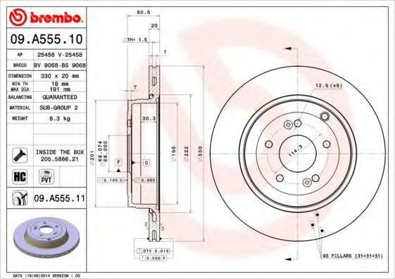 Диск тормозной BREMBO 09A55510