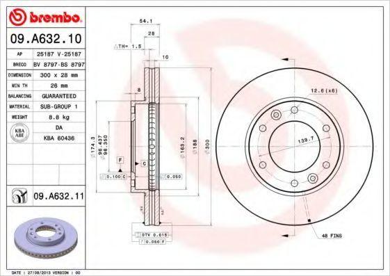 Диск тормозной BREMBO 09A63211