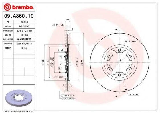Диск тормозной BREMBO 09A86010