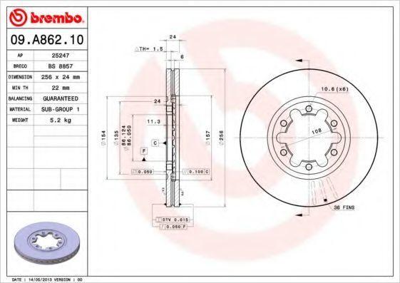 Диск тормозной BREMBO 09A86210