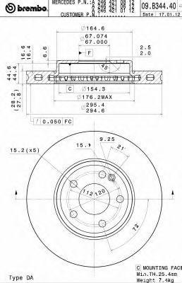 Диск тормозной BREMBO 09B34441