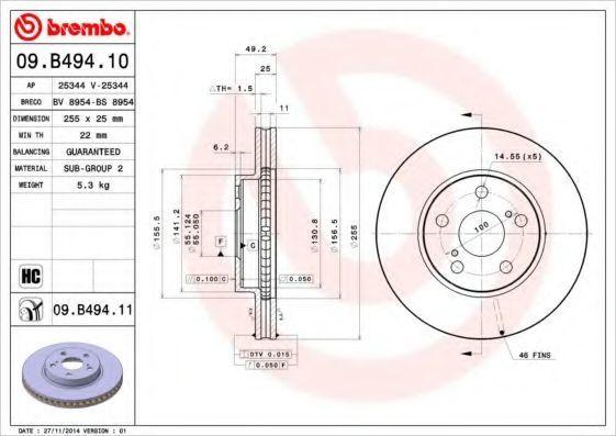 Диск тормозной BREMBO 09B49410