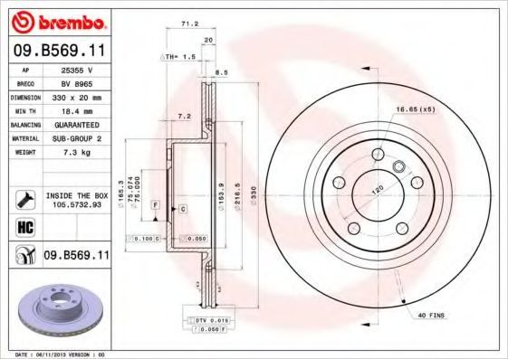 Диск тормозной BREMBO 09B56911