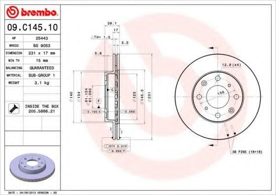 Диск тормозной BREMBO 09.C145.10