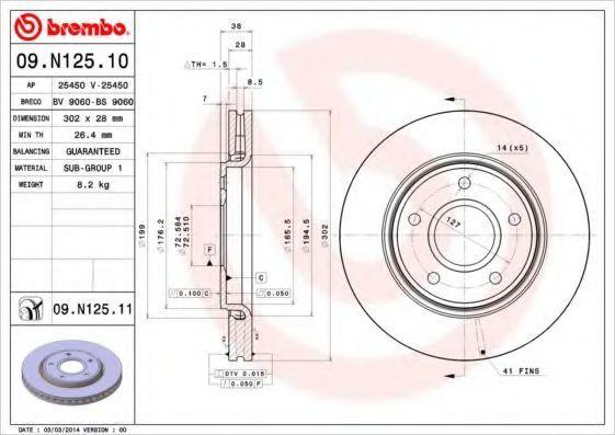 Диск тормозной BREMBO 09N12511