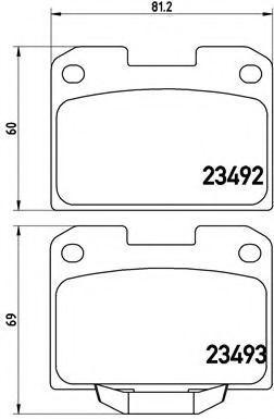 Комплект тормозных колодок, дисковый тормоз BREMBO P54048