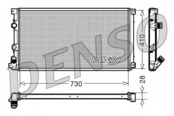 Радиатор, охлаждение двигателя DENSO DRM23090