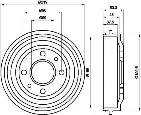 Тормозной барабан MINTEX MBD011
