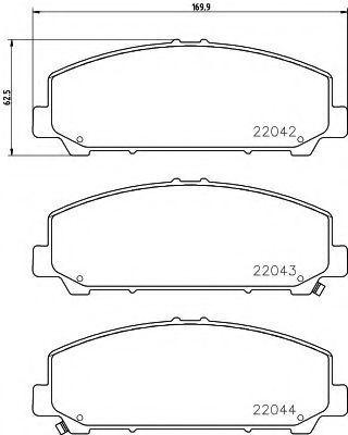 Комплект тормозных колодок, дисковый тормоз MINTEX MDB3714