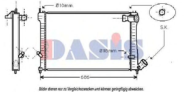 Радиатор, охлаждение двигателя AKS DASIS 060004N
