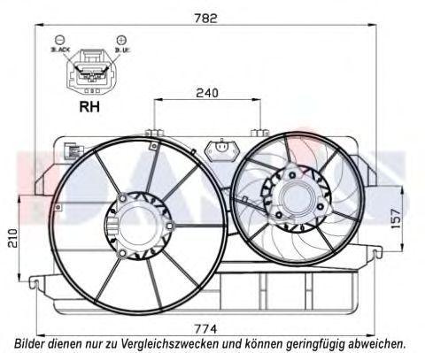 Вентилятор, охлаждение двигателя AKS DASIS 098087N
