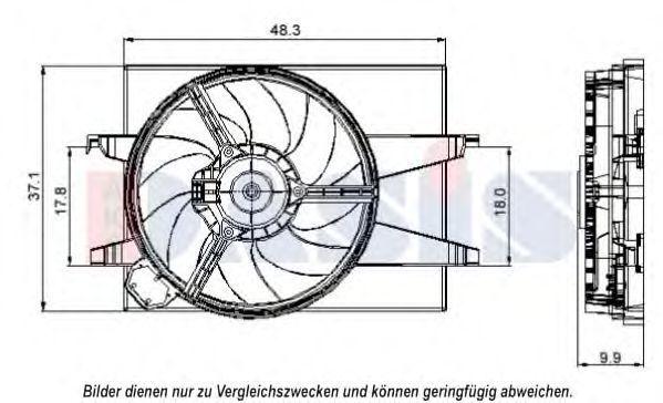 Вентилятор, охлаждение двигателя AKS DASIS 098103N