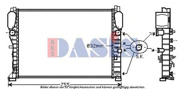 Радиатор, охлаждение двигателя AKS DASIS 120068N