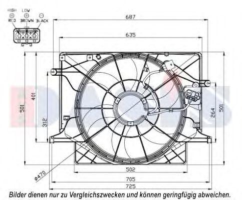 Вентилятор, охлаждение двигателя AKS DASIS 568047N
