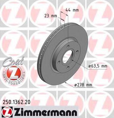 Диск тормозной ZIMMERMANN 250.1362.20