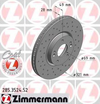 Диск тормозной ZIMMERMANN 285352452