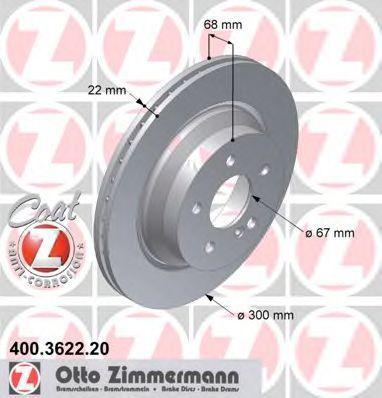 Диск тормозной ZIMMERMANN 400362220