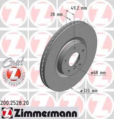 Диск тормозной COAT Z ZIMMERMANN 200.2528.20
