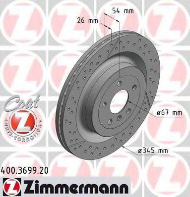 Диск тормозной ZIMMERMANN 400369920