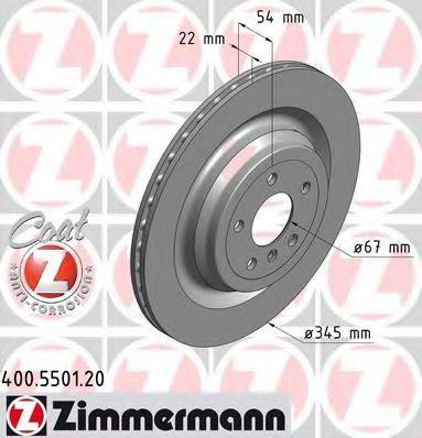 Диск тормозной Coat Z ZIMMERMANN 400.5501.20