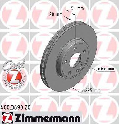 Диск тормозной ZIMMERMANN 400369020