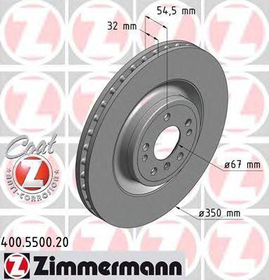 Диск тормозной Coat Z ZIMMERMANN 400.5500.20