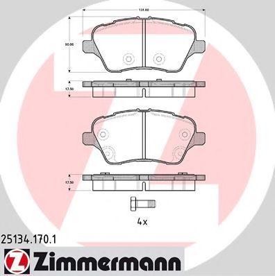 Колодки тормозные ZIMMERMANN 25134.170.1