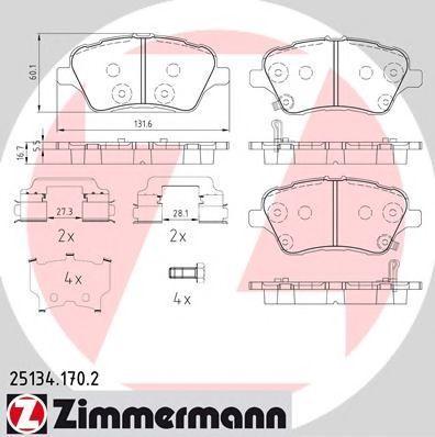 Колодки тормозные ZIMMERMANN 251341702