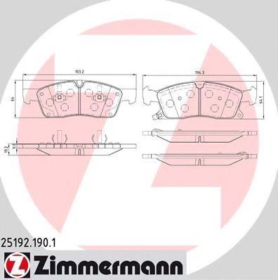 Колодки тормозные ZIMMERMANN 25192.190.1