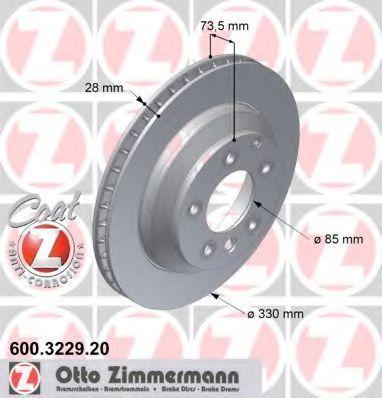 Изображение Диск тормозной Coat Z ZIMMERMANN 600.3229.20: описание