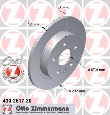 Диск тормозной задний вентилируемый ZIMMERMANN 430261720