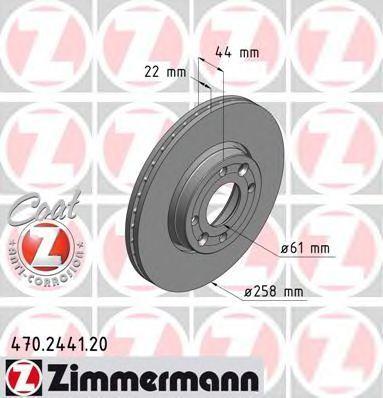 Диск тормозной вентилируемый COAT Z ZIMMERMANN 470.2441.20