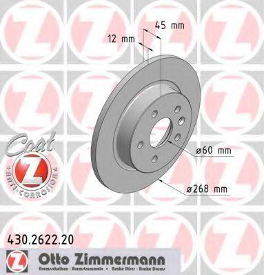 Диск тормозной задний вентилируемый ZIMMERMANN 430.2622.20