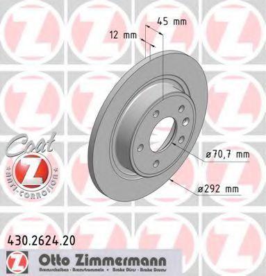 Диск тормозной задний вентилируемый ZIMMERMANN 430262420