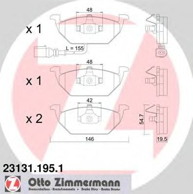 Колодки тормозные ZIMMERMANN 231311951
