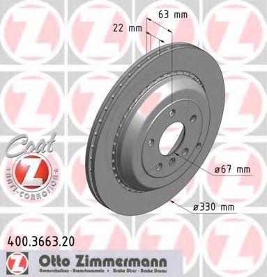 Диск тормозной ZIMMERMANN 400366320