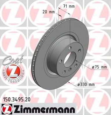 Диск тормозной Coat Z ZIMMERMANN 150.3495.20