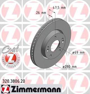 Диск тормозной вентилируемый COAT Z ZIMMERMANN 320380620