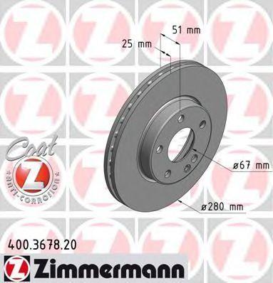 Диск тормозной ZIMMERMANN 400367820