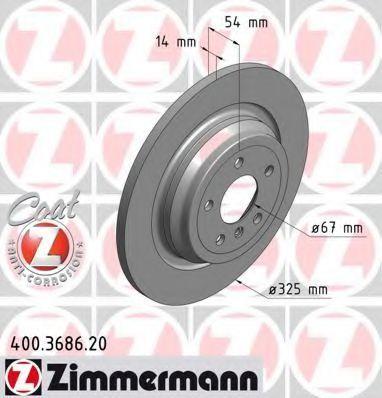 Диск тормозной Coat Z ZIMMERMANN 400.3686.20