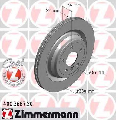 Диск тормозной Coat Z ZIMMERMANN 400 3687 20