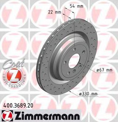 Диск тормозной Coat Z ZIMMERMANN 400 3689 20
