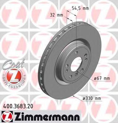 Диск тормозной Coat Z ZIMMERMANN 400.3683.20