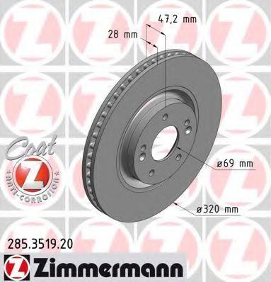 Тормозной диск ZIMMERMANN 285351920