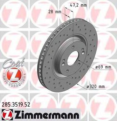Тормозной диск ZIMMERMANN 285351952
