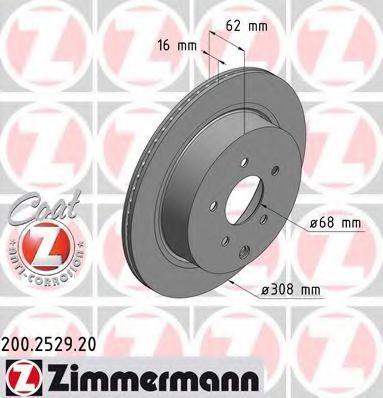 Диск тормозной задний вентилируемый ZIMMERMANN 200252920