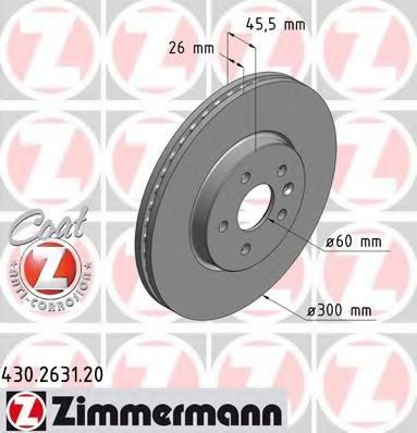 Диск тормозной ZIMMERMANN 430.2631.20