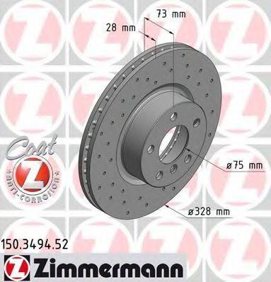 Диск тормозной ZIMMERMANN 150349452