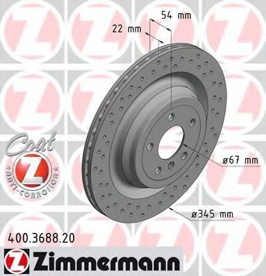 Диск тормозной ZIMMERMANN 400 3688 20