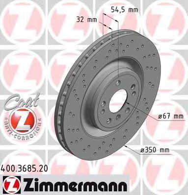 Диск тормозной Coat Z ZIMMERMANN 400 3685 20